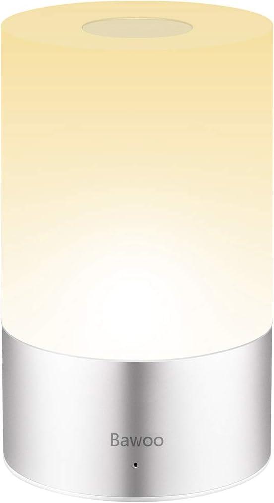 Lámpara de Mesa LED Lámpara de Noche Lámpara Atmósfera Bawoo Táctil Lámpara de Tabla LED Decoración Recargable USB Mesa Luz Multicolor 256 RGB & Blanca Cálida Regulable 3 Brillo Niños Dormitorio B