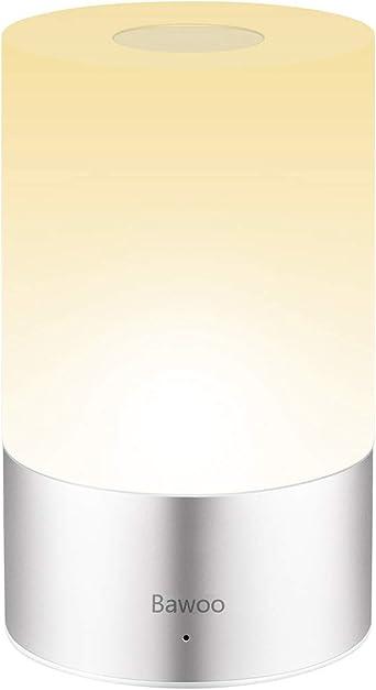 Lampada Comodino LED Luce Notturna Touch Luce Comodino, Bawoo Lampada Camera da Letto Tavolo Ricaricabile USB Luce Touch LED Lampada Notturna Batteria
