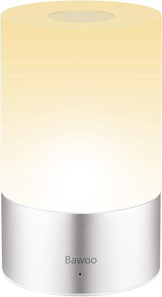 Nachttischlampe Tischleuchte LED Touch Nachtlicht Bawoo Dimmbar Nachttischlampe Tischlampe mit Touchfunktion Mehrfarbig Nachttisch Leuchte für