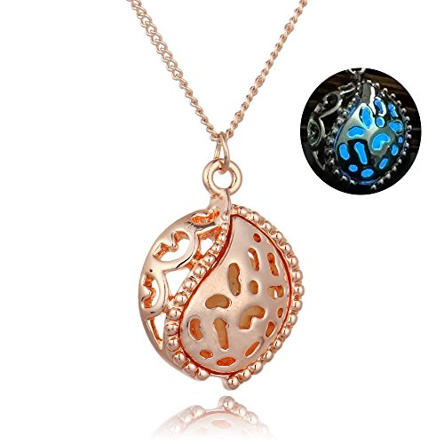 [Luminous Steampunk Magic Fairy Locket Glow In The Dark Pendant Necklace Jewelry,N3003-RB] (Punk Fairy Costumes)