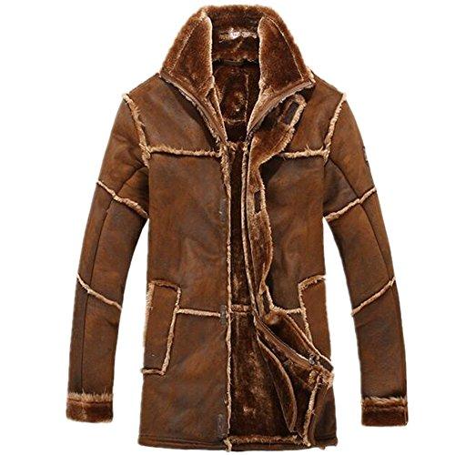 (Allonly Men's Vintage Sheepskin Jacket Fur Leather Jacket Cashmere Shearling Coat, Bronze, US Medium)