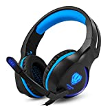 YUNQE Gaming Headset for Xbox One PS4 PC,SL-100 3.5 mm Gaming Headset LED Light Over-Ear Headphones with Volume Control Microphone for Xbox PS4 Laptop Tablet (Blue+Black) For Sale