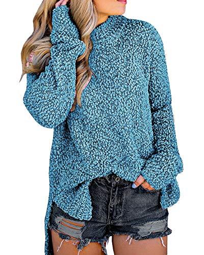 MEROKEETY Women's Long Sleeve Sherpa Fleece Knit Sweater Side Slit Pullover Outwears Teal ()