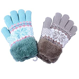 2Pairs Kids Boy Girl Warm Winter Gloves Mittens Fleece Lining Snowflake Design