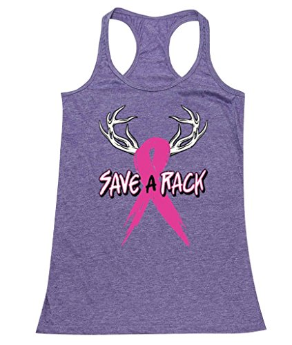 P B Save A Rack Breast Cancer Awareness Womens Tank  Xl  Heather Purple