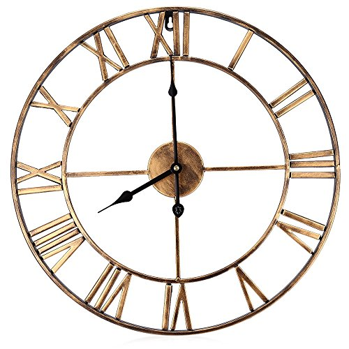 Robolife 18.5 Inch Oversized 3D Iron Decorative Wall Clock Retro Roman Numerals Design