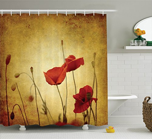 Poppy Decor Shower Curtain Set by Ambesonne, Poppies and Flower Buds on Ambient Dark Grunge Background with Retro Effects Bohemian, Bathroom Accessories, 75 Inches Long, Mustard - Vermilion Dark