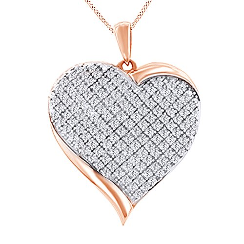 (Jewel Zone US Round Cut Natural Diamond Puffed Heart Necklace Pendant in 10K Rose Gold (0.94 cttw))