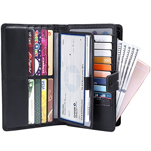 Women's Big Fat Rfid Blocking Leather wallet clutch organizer checkbook holder (Black) by ITSLIFE