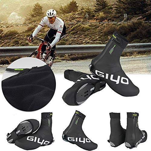 CapsA Cycling Shoes Cover Overshoes Winter Windproof Warm Protection Bicycle Bike Overshoes M-XXL Outdoor Reflective Cycling Shoes (Black, XL)