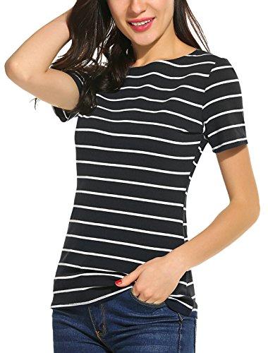 Women's Boat Neck Short Sleeve Blouse (Black/White) - 1