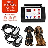 Beinhome Upgraded 2 in 1 Dog Training Collar Sound Vibration & Static Shock Collar & Outdoor Wireless Dog Fence Pet Containment System Kit