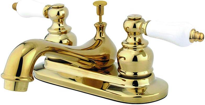 "Kingston Brass KB602B Centerset Lavatory Faucet, 4"", Polished Brass"