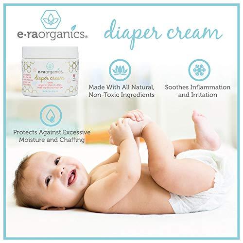 Diaper Rash Cream Natural & Organic - Extra Soothing Zinc Oxide Diaper Rash Treatment with Aloe Vera, Chamomile, Calendula, Rose Hip & More - for Dry, Sensitive, Irritated Skin 2oz Era-Organics