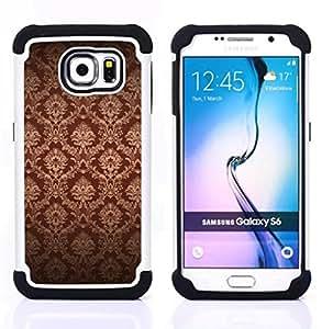 For Samsung Galaxy S6 G9200 - Wallpaper Brown Bling Royal Vintage /[Hybrid 3 en 1 Impacto resistente a prueba de golpes de protecci????n] de silicona y pl????stico Def/ - Super Marley Shop -