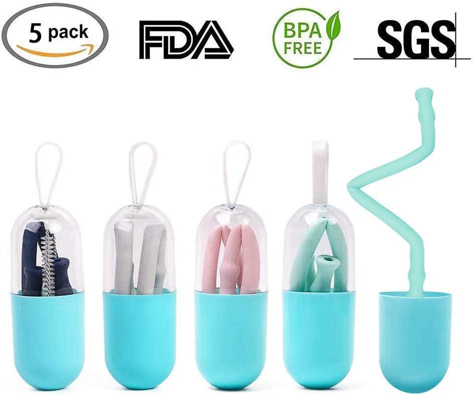 Amazon.com: Pajitas de silicona reutilizables plegables con ...