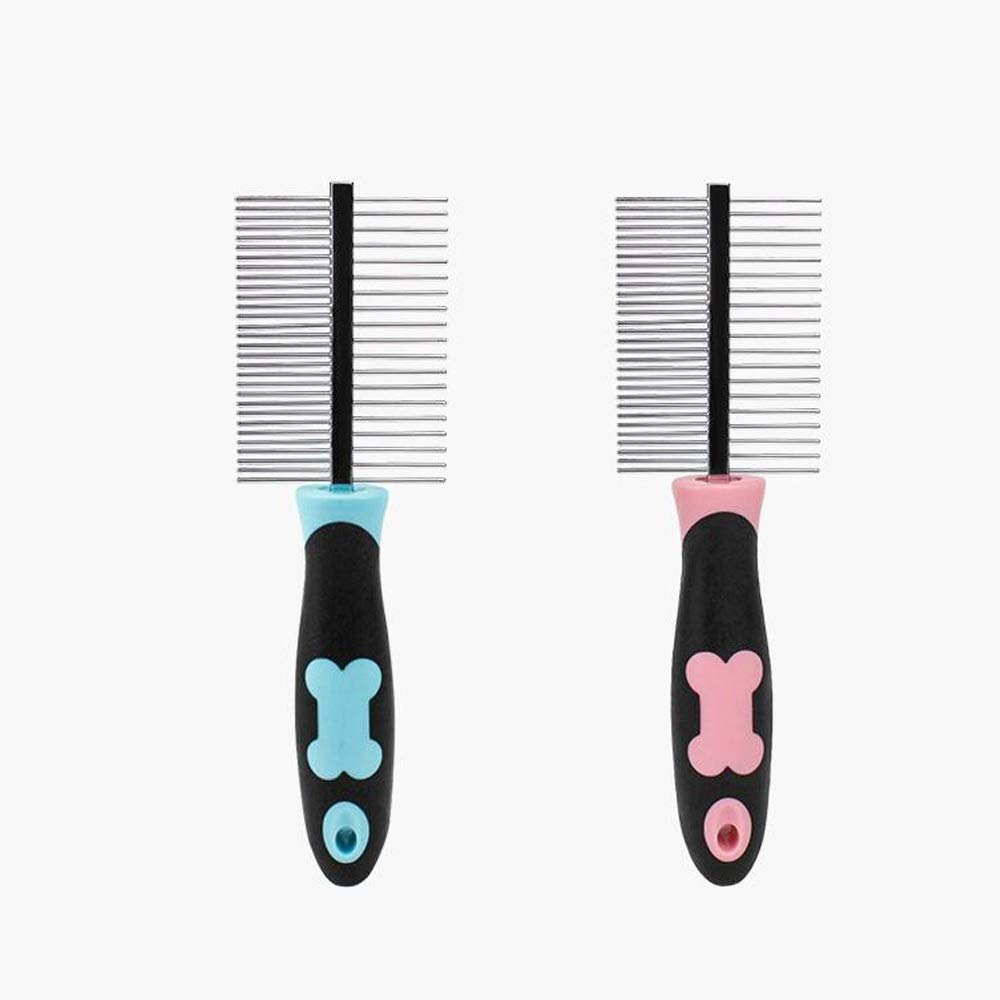 Samuknight Pet Brush, Dog Brush & Cat Brush, Pet Grooming Comb,Stainless Steel Needle Comb + Silicone Handle Pet Grooming Tools (Color : Blue, Style : Double Sided) by Samuknight