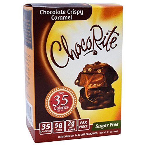 CHOCORITE CHOCOLATE VALUE PACK -6 24 GRAM BARS-SUGAR FREE-35 CALORIES PER PIECE (CHOCOLATE CRISPY CARAMEL)