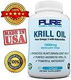 Krill Oil 1000mg w/ Astaxanthin PURE-K Top Rated #1 Fish Oil Omega 3 6 9 - EPA DHA - 100% Purified & Mercury free - Mega Dose Phospholipids - Non GMO - Gluten FREE - Pure Label Nutrition Krill Oil