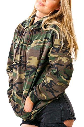 Armygreen Loose Dazosue 'hooded Pockets Jumer Hoodies Sweatershirt Camo Femme qC8Cw4P