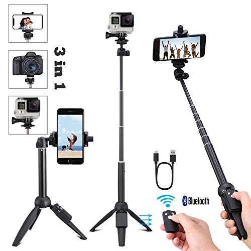 Portable 40 inch Universal Selfie Stick, Bluetooth Selfie Stick Tripod with Wireless Remote, Extendable Mini Aluminum Alloy Handheld Monopod Selfie Stick Compatible with iPhone Samsung DSLR GoPro by vvtan