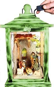 KLG de mfos de musgo verde madera Farol, Belén con Figuras Belén, figuras, con iluminación 220V, linterna de madera de madera color verde musgo verde AMAZON Natural, con sus Scene Antiguo–Look