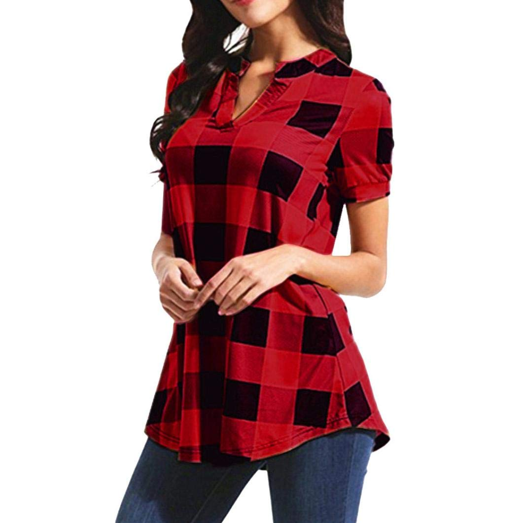 Rambling New Womens Casual Short Sleeve V Neck Irregular Hem Tunic Top Plaid Blouse Shirt