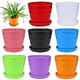 Severkill Round Modern Mini Plastic Flower Seedlings Nursery Pot/Planter/Flower Pot with Pallet 8 Colors,All