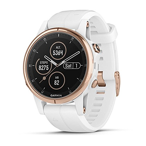 Garmin fnix 5S Plus - compact multisport watch with music, maps, and Garmin Pay - Sapphire, Rose Gold-tone with Carrara White Band, 010-01987-06