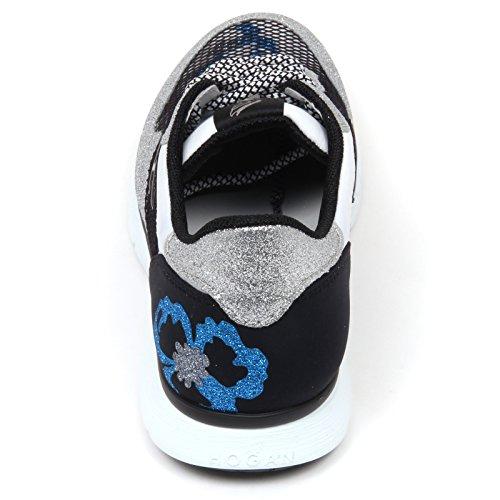 Sneaker Donna Scarpa D0274 Rete H254 Nero Shoe Hogan Argento Glitter Argento Woman wfOxTqq