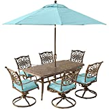 Hanover Traditions 7 Piece Dining Set in Blue with 72 x 38 Cast-top Table, 9′ Umbrella and Stand
