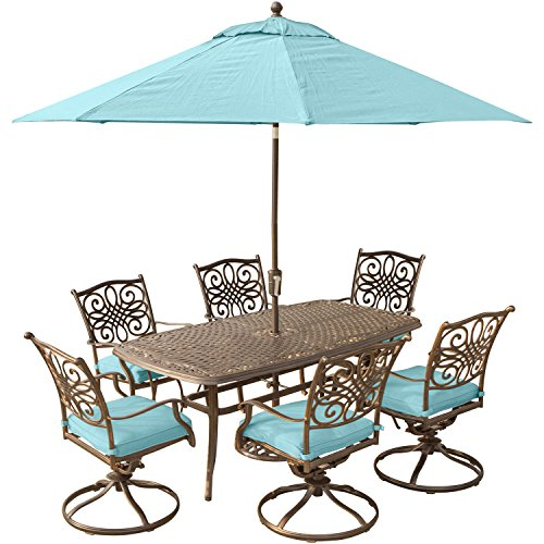 Cheap Hanover Traditions 7 Piece Dining Set in Blue with 72 x 38 Cast-top Table, 9′ Umbrella and Stand