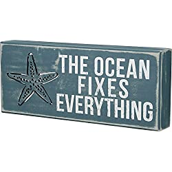 Primitives by Kathy Distressed Beach-Inspired Box Sign, 12 x 5-Inches, The Ocean Fixes Everything