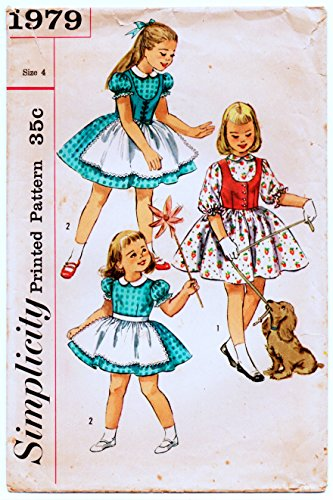Simplicity 1979 Girls One Piece Dress, Westkit and Apron Sewing Pattern Vintage 1940s