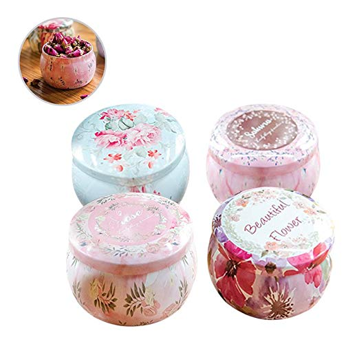 (4PCS DIY Candle Tin Jars Retro Festival Party Household Wedding Candle Sweetie Storager Holder Organizer Case Making Kit )