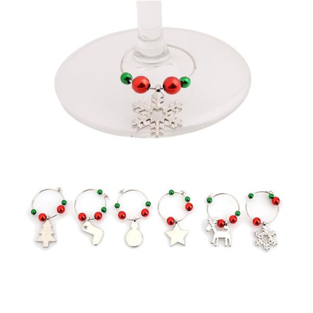 HENGSONG 6 pcs Christmas Champagne Wine Glass Marker Ring Bar Decoration Table (Silver)