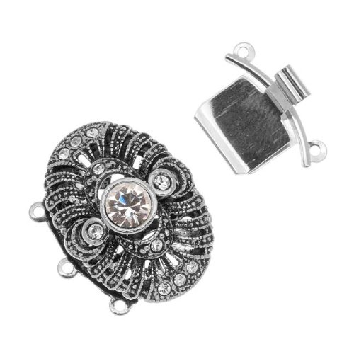 - Elegant Elements Palladium Plated 3-Strand Box Clasp - Ornate Oval With Crystals - 22.5x19mm