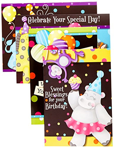 Divinity Boutique Greeting Card Assortment: Birthday for Kids, Party Animals (22685N) -