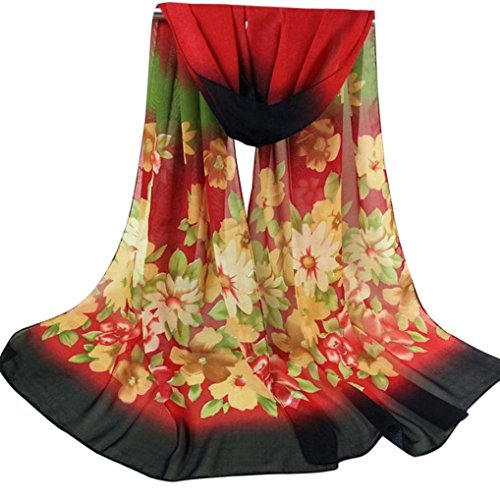 Bestpriceam Women Lady Chiffon Butterfly Print Neck Shawl Scarf Scarves Wrap Stole (Red New)