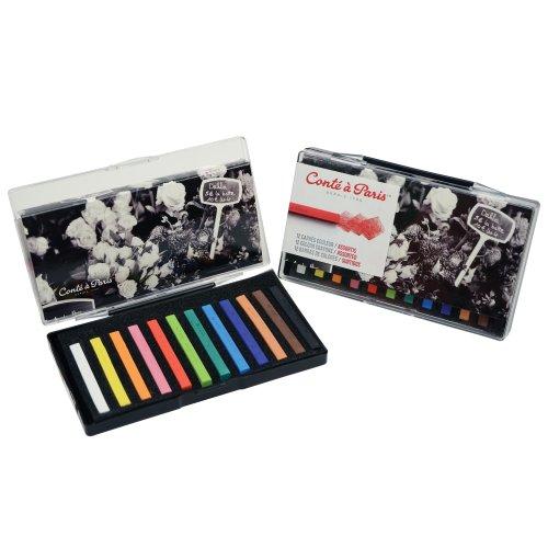 Conte Crayons Drawing (Conté à Paris Colored Crayons Set with 12 Assorted Colors)