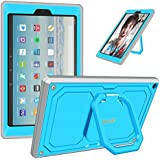 Fintie Case for All-New Amazon Fire HD 10 Tablet (7th Gen 2017) - [Tuatara Magic Ring] [360 Rotating] Multi-Functional Grip Stand Shockproof Protective Carry Cover w/Built-in Screen Protector, Blue