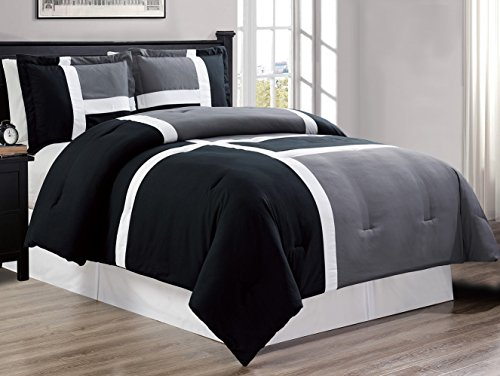 3 piece BLACK / GREY / WHITE Goose Down Alternative Color Panel Oversize Comforter Set, (Double) Full size Microfiber bedding, Includes 1 Oversize Comforter and 2 Shams (Piece Black 3 Panel)