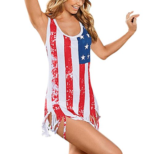 GOVOW Women Sleeveless Flag Printed Blouse Casual Tank Tops T-Shirt Vest (Patchwork Wrap Hippie Costumes)