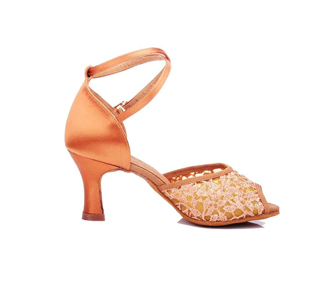 Beige 38 EU Chaussures De Danse Latine Danse De Salon De Danse à Talons Hauts avec Une Fleur Nette Confortable Anti-Glisse Usure Femme Adulte