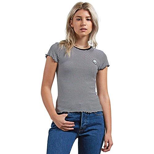 (Volcom Junior's Colder Shoulder Ruffled Edges Short Sleeve Shirt, Black Combo,)