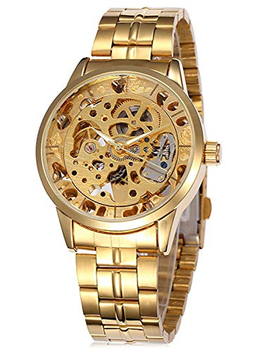 Carrie Hughes Men s Gold Steampunk Skeleton Automatic Mechanical Stainless Steel Watch CH259