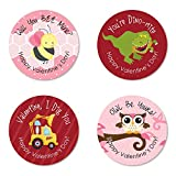 Big Dot of Happiness Valentine's Day - Assorted Valentine's Day Party Circle Sticker Pack - Set of 24