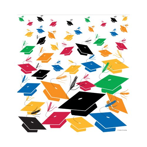 Creative Converting Square Graduation Party Plastic Table Cover, Grad Cap Toss