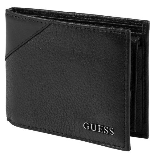 (Guess Mens Textured Bi-Fold Passcase Wallet)