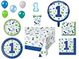 1st Birthday Boy Party Supplies For 8 - Doodle Theme, 9-Piece Bundle